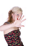 Beautiful Girl Makes a Hand Gesture Royalty Free Stock Photos