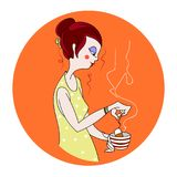 Beautiful girl makes tea. Vector background Stock Images