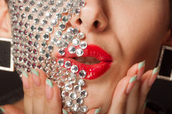 Beautiful girl with makeup with crystals Stock Photography