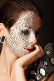 Beautiful girl with makeup with crystals Royalty Free Stock Photos
