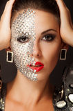Beautiful girl with makeup with crystals Stock Image