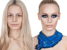 Beautiful girl makeup before after. two photos. The beauty of the classic makeup. Royalty Free Stock Photos