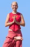 Beautiful girl making yoga exercise Stock Photo