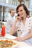 Beautiful girl and man  in a cafe Stock Photography