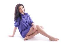 Beautiful girl in a man's shirt Stock Photo