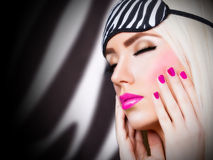 Beautiful girl with manicure Royalty Free Stock Images