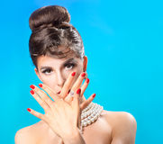 Beautiful girl with a manicure Royalty Free Stock Image