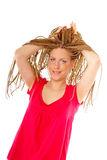 Beautiful girl many plaits hairstyle Royalty Free Stock Photography