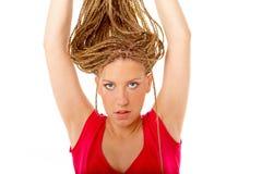 Beautiful girl many plaits hairstyle Royalty Free Stock Photo