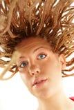 Beautiful girl many plaits hairstyle Royalty Free Stock Image