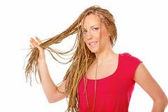 Free Beautiful Girl Many Plaits Hairstyle Holding Hairs Stock Image - 12829511