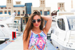 Beautiful girl at Marina - Dubai Stock Image