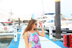 Beautiful girl at Marina - Dubai Royalty Free Stock Photo