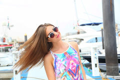 Beautiful girl at Marina - Dubai Royalty Free Stock Images