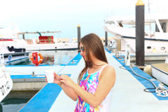 Beautiful girl at Marina - Dubai Royalty Free Stock Photos