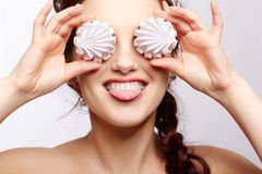 Beautiful girl with marshmallows Royalty Free Stock Photo