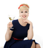 Beautiful girl with martini Royalty Free Stock Images