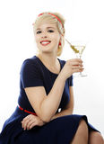 Beautiful girl with martini Royalty Free Stock Photos