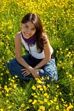 Beautiful girl on a meadow Stock Images