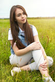 Beautiful girl in a meadow in the morning Royalty Free Stock Photography