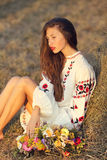 Beautiful girl in meadow in national suite stock image