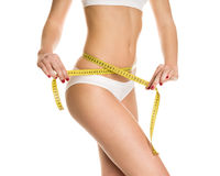 Beautiful girl measure body. On a white background, isolated Stock Photo