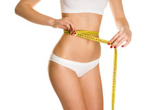 Beautiful girl measure body Stock Photography