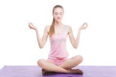 Beautiful girl meditating Stock Photos