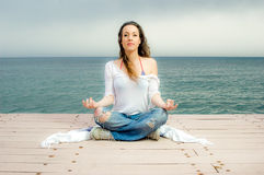 Beautiful girl in meditation Stock Images