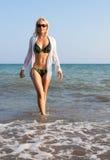 Beautiful girl in the Mediterranean Sea. Stock Photo