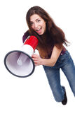 Beautiful girl with megaphone Stock Photo