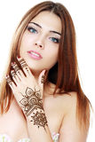 Beautiful girl with mehandi. Beautiful girl happy smiling have painted Mehandi fresh applied henna on her hand Stock Photos
