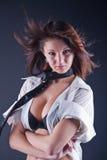 Beautiful girl in men's shirt Stock Images