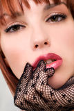 Beautiful girl with mesh gloves Royalty Free Stock Photos