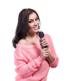 Beautiful girl with microphone isolated Royalty Free Stock Photo