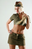 Beautiful girl in military clothes Royalty Free Stock Photo