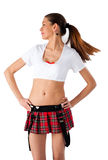 Beautiful girl in mini-skirt. Young pretty woman in white top and red mini skirt Stock Images