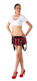 Beautiful girl in mini-skirt. Young pretty woman in white top and red mini skirt Stock Photo