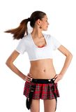 Beautiful girl in mini-skirt Stock Photography