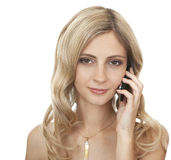 Beautiful girl with mobile phone. Royalty Free Stock Image