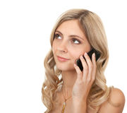 Beautiful girl with mobile phone. Stock Images