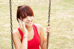 Beautiful girl with mobile phone Royalty Free Stock Photo