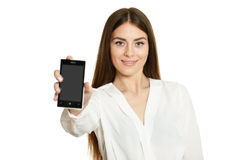 Beautiful girl with mobile phone Royalty Free Stock Images