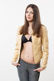 Beautiful girl model in beige jacket Royalty Free Stock Photo