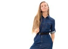 Beautiful girl model blonde hair posing studio Stock Images