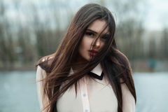 Beautiful Girl Model in a Blouse. Outdoor Stock Image