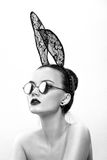 The beautiful girl model in an image of a rabbit Royalty Free Stock Photos