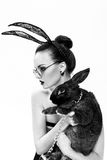 The beautiful girl model in an image of a rabbit Royalty Free Stock Photography