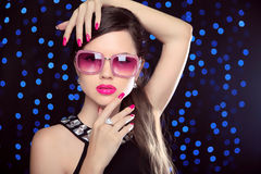Beautiful Girl Model In Fashion Sunglasses With Pink Lips, Mani Stock Photos