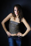 Beautiful girl model in leopard topic Royalty Free Stock Photo